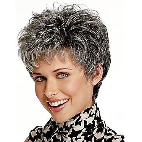 OOFAY JF® mirada natural, mezcla de color gris corto pelucas sintéticas del pelo recto