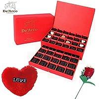 De'Arco Chocolatier Valentine chocolate for girlfriend, Valentines Day Chocolates, Valentines Day Gift Hamper, Premium Valentine Chocolate, 560g + FREE - Furr Heart and Rose