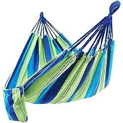 SONGMICS Hängematte Mehrpersonen 210 x 150 cm, Belastbarkeit bis 300 kg (Grün-blaue Streifen)