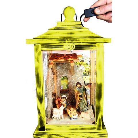 KLG-KL-MFOS-DUNKELBRAUN giallo lanterna in legno, presepe con lanterne personaggi, Personaggi, con illuminazione 220V, Lanterna in legno in legno giallo amazon giallo chiaro colore giallo sole, Natale lanterne antico–Look