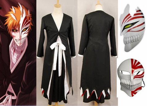Giapponese giacca Anime Bleach Ichigo Kurosaki Cosplay Chimono+Ichigo Kurosaki maschera set ,aglia S (altezza 148cm-155 cm, peso 40-50kg)