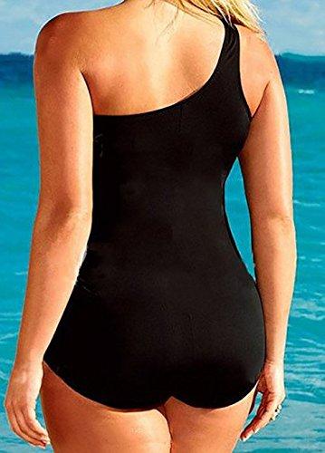 GenialES Badeanzug, Bikini, Größe L, Taille aus Mesh-Netz, Damen Badebekleidung Damen, schwarz XL XXL XXXL Schwarz