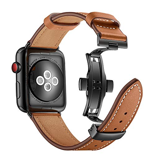 r Apple Watch Armband 42mm 44mm Leder,Lederarmband Apple Watch 44mm Armband Series 4 Echtleder Ersatzband Armbänder iWatch Series 3 42mm für Apple Watch Series 4/3/2/1 ()