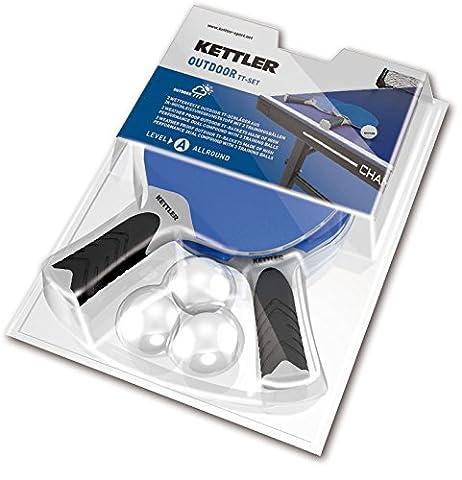Kettler Halo 5.0Outdoor Tischtennis-2Schläger-set mit 3Tischtennisbälle