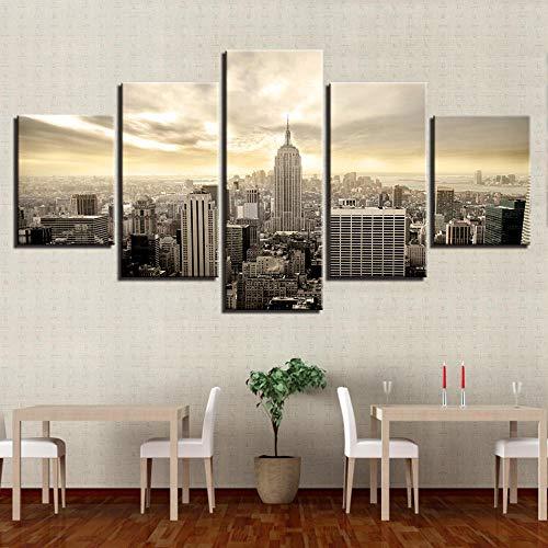 wjdymx Leinwanddrucke Wandkunst Leinwand Modulare Malerei 5 Panel Das Empire State Building Moderne Dekoration Bild Günstige Poster