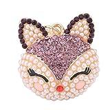 ruikey Karabiner Verschlüsse Schlüssel Ring Strass Perle Fox Geldbörse Tasche KFZ Schlüssel Kette Anhänger Geschenk für Frauen Mädchen, violett, 12x5cm