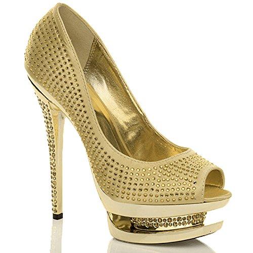 Femmes talon haut strass soirée chaussures ouvert plateforme sandales pointure Or jaune