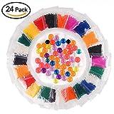 KUUQA Perlas de Agua Bolas de Agua de Gel 24 Paquetes,12 colores mezclados Para Manualidad Relleno de Florero Decoración de Boda y Muebles Perlas de agua Bolas de gel