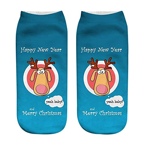 Zolimx Weihnachtensocken Unisex 3D Fashion Christmas Ugly Casual Socken gedruckt Niedliche Low Cut Söckchen - Casual-christmas-socken