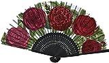 Home Collection Abanico Plegable Abanico de Mano con Motivos Florales Rosas Rojas Largo Plegado 21 cm Ancho Abierto 38 cm