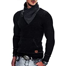 INDICODE Hombre Suéter tejido Capucha Sudadera Pullover Jerséis Knit  Sweater 35-114 Black M a5d602be86f3d