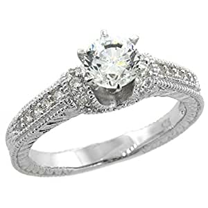 Revoni Sterling Silver Vintage Style Solitaire Engagement Ring w/ Brilliant Cut CZ Stones, 3/16 in. (5mm) wide, size 6