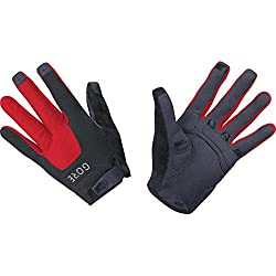 GORE Wear, Guantes MTB transpirables, Unisex, C5 Trail Gloves, Talla: 5, Color: Negro/Rojo, 100116