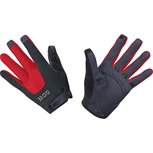 GORE Wear, Guantes MTB transpirables, Unisex, C5 Trail Gloves, Talla: 7, Color: Negro/Rojo, 100116