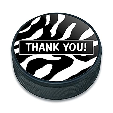 Ice Hockey Puck Birthday - Thank You Zebra Print Bridal Wedding Shower