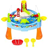 #6: Fishing Game Set, MAA TTS Electric Magnetic Rod and Reel Toy Water Playing Fun Paradise [25 Pcs] with Music and Light for Boys and Girls, Kids and Toddlers over 3 Years Old, Colorful