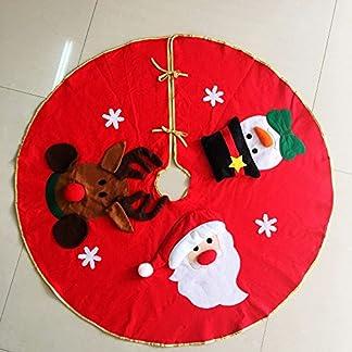 Base decorativa para árbol de Navidad MFCreative con diseño de Papá Noel, muñeco de nieve y alce, 1 pieza de 106cm, color rojo