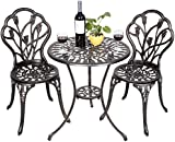 FDS Tulip Garden Bistro Set 3 Piece Cast Aluminium Table & 2 Chairs Furniture