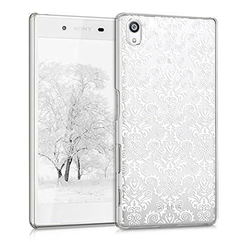 kwmobile Étui transparent élégant avec Design baroque pour Sony Xperia Z5 en blanc transparent