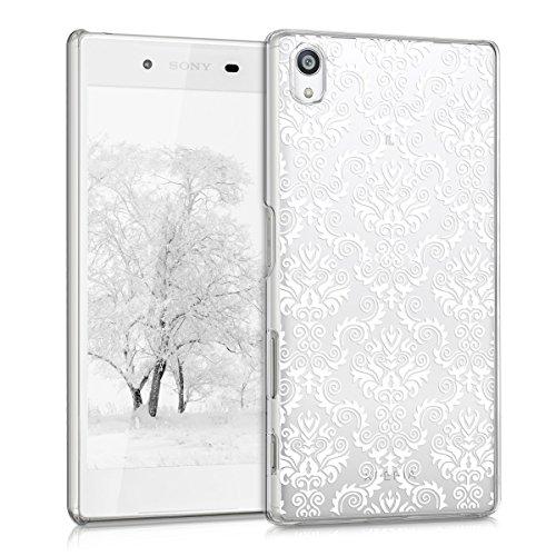 kwmobile Crystal Case Hülle für Sony Xperia Z5 mit Barock Design - transparente Schutzhülle Cover klar in Weiß Transparent