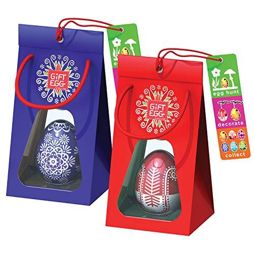 Paio di uova di pasqua: 2 labirinti da usarlo come giocattoli a sorpresa per la caccia all'uovo e come decorazione, in confezione regalo, pronti per essere dati come regali pasquali, blu-rosso