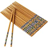 RIANZ Set Of 10 Pairs Designer Natural Round Bamboo Reusable Chopsticks, Size 9.5 Inch (Color and Design May Vary)