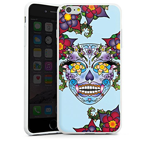 Apple iPhone X Silikon Hülle Case Schutzhülle Blüten Totenkopf Blumen Silikon Case weiß