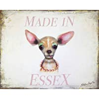 by Sean Aherne Art Made in Essex Chihuahua Shabby Chic Wooden Sign Plaque Picture Print