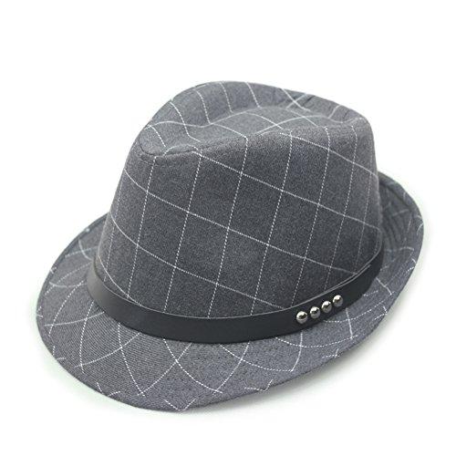 Herren sonnenhut/britischen stil jazz hut/aus baumwolle/polyester,plaid,sonne schutz hüte-grau One Size (Baumwolle Plaid Fedora-hut)