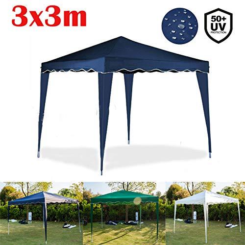Yiyai Pop-Up Pavillon 3x3m Überdachung  Wasserdicht und UV-Schutz 50+   Heavy Duty Stahlrahmen   Faltpavillon mit Tragetasche   Partyzelt Gartenzelt   Blau