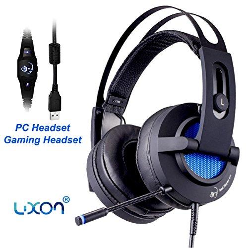 Gaming Headset Kopfhörer mit Mikrofon 7.1 Kanal Surround Sound USB Anschluss für PC Gaming Devices (Schwarz) (Mikrofon Einheit)