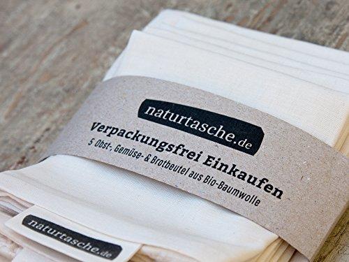 naturtasche 5er-Set, Obst- und Gemüsebeutel, Brotbeutel, Wiederverwendbar, Bio-Baumwolle, Fair genäht in Böhmen (Kordelzug Bio-baumwolle)