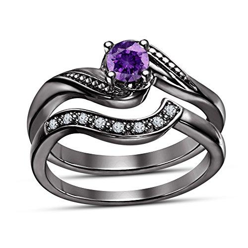 Vorra Fashion taglio rotondo ametista viola e bianco CZ Fancy promessa matrimonio anello banda abbinata Set di anelli, Argento, 19, colore: Black, cod. 12345 - Ametista Promise Ring