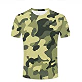 qianyishop Mens Casual Design 3D Printed Green Minimalist-Military Camouflage Graphic Short Sleeve Couple T-Shirts Top Tee M