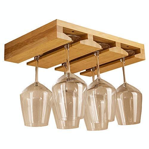 Komost Bambus Weinglas Regal, Brillenaufbewahrungshalter, Untergestelle zum Aufhängen von Stielgläsern, Glastrockner für Küchenbar, für 6-8 Gläser (35 * 25cm)