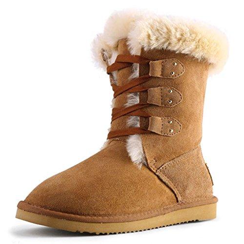 Stivali da neve invernali delle ragazze cinghie Nel tubo Stivali femminili Da donna inverno stivali da neve Yellow