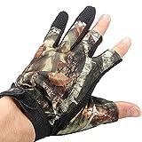 TENGGO 3 Schneiden Sie Finger Anti-Rutsch-Camouflage Fischerei Jagd Handschuhe Wasserdicht