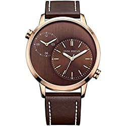 MINI FOCUS Men's Watch Two Time Zone Watch Brown Real Leather Strap and Brown Dial MF0035G