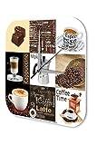Wanduhr Restaurant Küchen Deko Marke Kaffee Cappuccino Moka Espresso Wand Acryl Uhr 25x25 cm