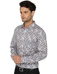 Bombay High Men's Full Sleeve Casual White Grey Printed Shirt