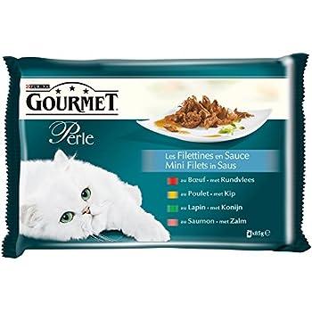 Gourmet Perle Les Filettines en Sauce Poulet, Boeuf, Lapin, Saumon - 4 x 85 g - Sachets Fraîcheur pour Chat Adulte - Lot de 12