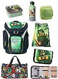 Familando Lego Ninjago Schulranzen 7tlg. Set mit Federmappe gefüllt, Turnbeutel, Dose, Trinkflasche und Großer Sporttasche Lloyd Grün Explorer