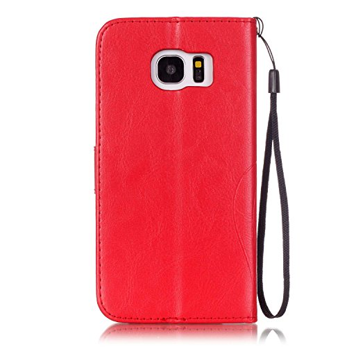 Prägen Blumen-Case, Magnetverschluss Synthetische PU-Leder-Kasten-Abdeckung mit hängenden Seil und Wallet-Funktion für SAMSUNG S7 EDGE ( Color : Pink , Size : SAMSUNG S7EDGE ) Red