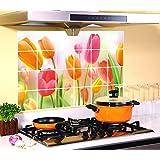 ufengke® Tulipani Colorati Adesivi Murali, Foglio di Alluminio Prova di Olio Adesivi da Parete Removibili/Stickers Murali/Decorazione Murale per la Cucina