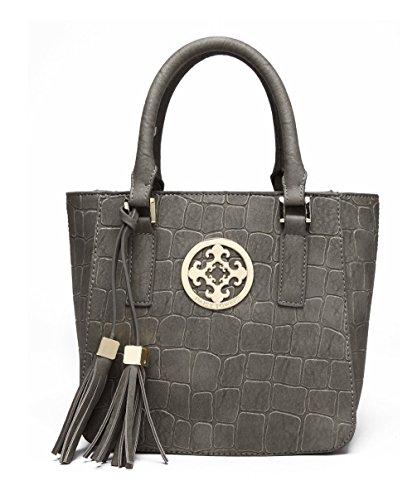 Keshi Pu Cool Damen Handtaschen, Hobo-Bags, Schultertaschen, Beutel, Beuteltaschen, Trend-Bags, Velours, Veloursleder, Wildleder, Tasche Light Grau