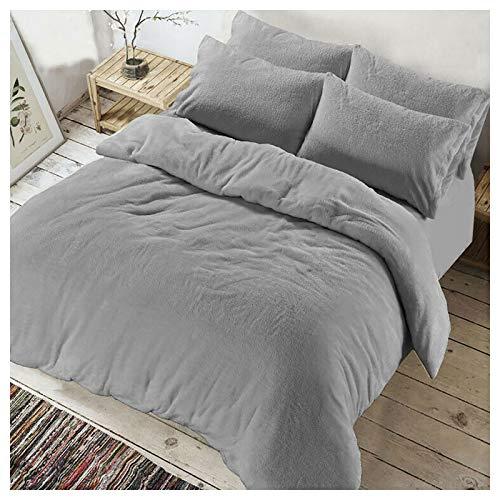 Islander Fashions Fleece Bettbez�ge Kissenbezug Set Luxuri�se Warme Gem�tliche Winterbettbezug (Bettbezug Set Silber Single)