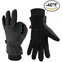 Winter Gloves, OZERO -40°F Cold Proof Thermal Glove - Deerskin Suede Leather Palm and Polar Fleece Back with Heatlok Insulated Cotton Layer - Keep Warm in Cold Weather - Black/Yellow/Grey (S/M/L/XL)