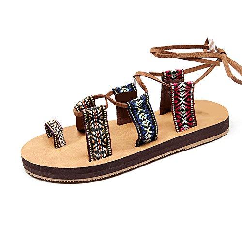 FEIFEI Femmes Chaussures Mode Bandages Rome Sandales Été Fond plat Retro Exposé Toe Plage Non-slip Sandales à talons bas