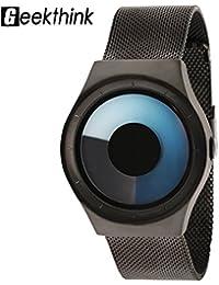 Reloj de Pulsera 5 Tipos Relojes de Cuarzo con Caja Redonda de Acero Inoxidable con Correa de Acero(Negro Azul)