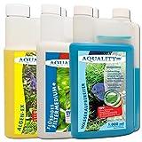 AQUALITY 3er Starter- & Pflege-Sparset 1000 (GRATIS Lieferung innerhalb Deutschlands - Aquarium Algenvernichter, Wasseraufbereiter, Filtermedium in einem Set)